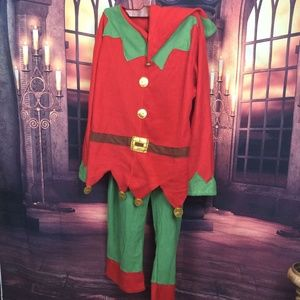 Adult Elf Costume Red and Green Top, Pants and Hat